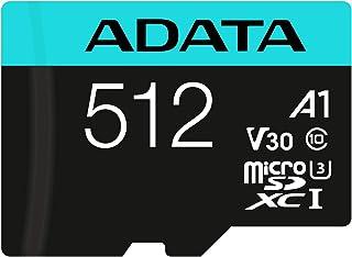 ADATA Premier Pro 512GB microSDXC/SDHC UHS I U3 Class 10(V30S) Speicherkarte, schwarz