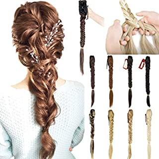 """Sexy_Forever 21"""" Long Fishtail Straight Hairpiece Braid Ponytail Extensions Synthetic Hair Extension Claw Jaw Braiding Pon..."""
