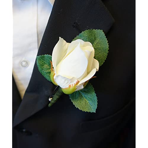 Angel Isabella Boutonniere - Live-Feel Real Touch Classic Keep Sake Rose Boutonniere. Pin Included