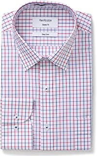 VAN HEUSEN mens Classic Relaxed Fit Shirt Vertical Stripe Red 43cm Collar x 94cm Sleeve