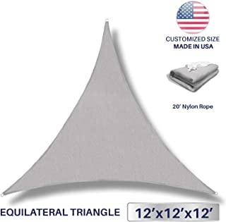 Windscreen4less 12' x 12' x 12' Sun Shade Sail UV Block Fabric Canopy in Light Grey Triangle for Patio Garden Patio Customized (3 Year Warranty)