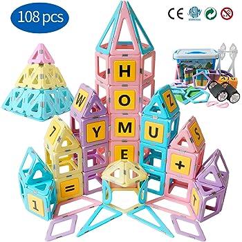 Learning /& Development Magnetic Tiles Building Blocks Kids Toys for 3 4 5 6 7 Years Old Boys Girls Gifts HOMOFY 40PCS Castle Magnetic Blocks