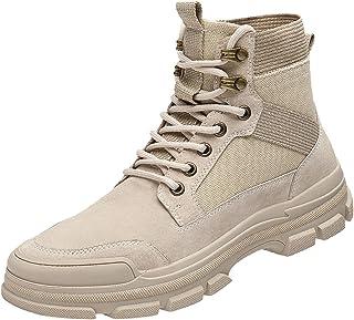 Willsky Hommes du Désert Bottes Retro Randonnée Chaussures De Marche À Lacets Shock Combat Sneakers Casual Mode,Beige,43EU