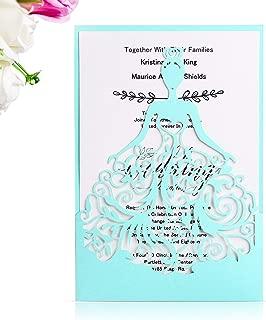 PONATIA 25PCS Laser Cut Crown Wedding Invitations Cards For Birthday Sweet 15 Quinceañera Party Invite, Wedding Bridal Engagement Invite (Tifny Blue)