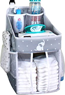 Hanging Diaper Caddy – Crib Diaper Organizer – Diaper Stacker for Crib, Playard or Wall – Newborn Boy and Girl Diaper Holder for Changing Table - Baby Shower Gifts- Elephant Gray - 17x9x9 inches
