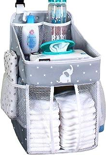 Hanging Diaper Caddy – Crib Diaper Organizer – Diaper Stacker for Crib, Playard or Wall – Newborn Boy and Girl Diaper Hold...