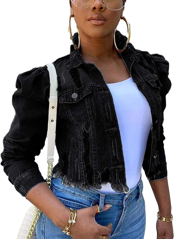 Jean Jacket Women Solid Button Wear Out Long Puff Sleeve Denim Jacket Coat