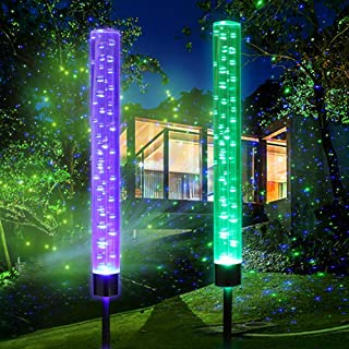 Weepong Garden Bubble Lights Outdoor Solar Acrylic Bubble Lights Waterproof Light Bubble Tube RGB Color Changing Solar Powered Garden Stake Lights for Halloween Christmas Decoration Patio Lawn(2 Pack)