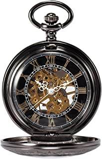 Steampunk Skeleton Mechanical Copper Fob Retro Pocket Watch