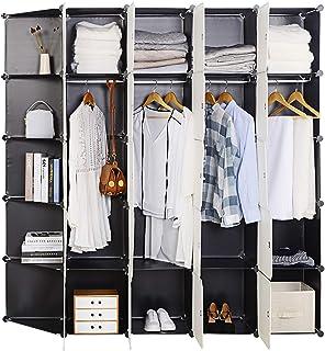 WOLTU SR0102she DIY Armoire Plastique Chambre Faite de modules avec 4 Tringle à vêtements pour Le Stockage de vêtements, A...