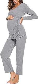 Women's Maternity Nursing Pajamas Set Soft Pregnancy Breastfeeding Pj Set(S-XXL)