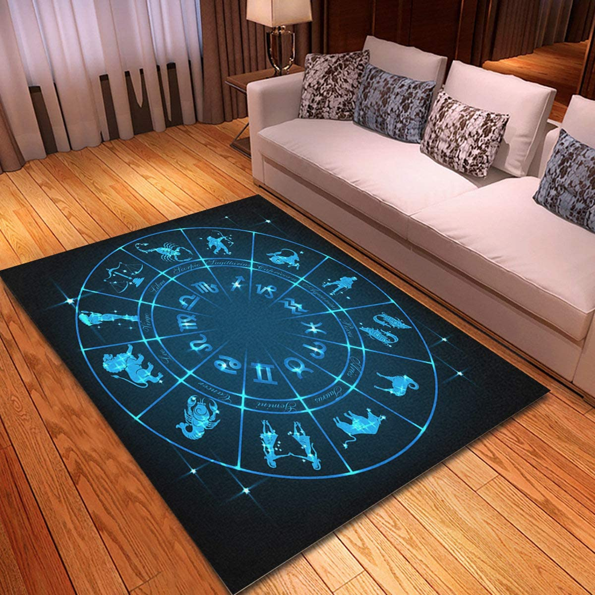 rouihot Non-Slip Area Rug 4'x 6' Blue S Now Max 61% OFF on sale Fortune Horoscope Circle