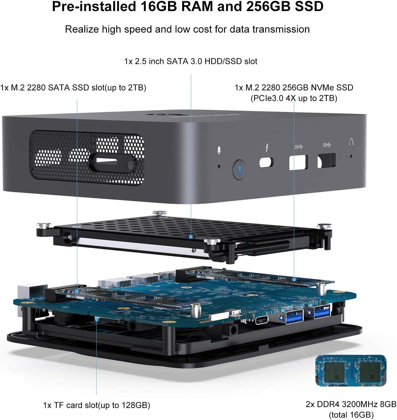 BT5.1 2xRJ45 Thunderbolt 3 HDMI 2.0//USB-C DIY SSD 16GB DDR4 RAM Outputs X35G Mini PC 10th Gen Intel Core i3-1005G1 Windows 10 Pro //DP 5K@60Hz 4xUSB Port 256GB NVMe SSD