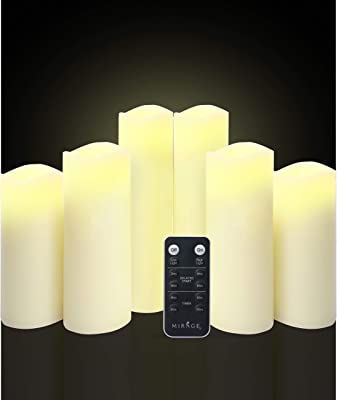 """Coco-Soy Candles, Battery Operated Flameless Led Pillar Candles with Remote Pack of 6 (H 5"""" 6"""" 7"""" 8"""" 9"""" x D 2.2""""), Ivory Real Wax Candles Electric Flickering Light for Home Decoration, Halloween Party"""
