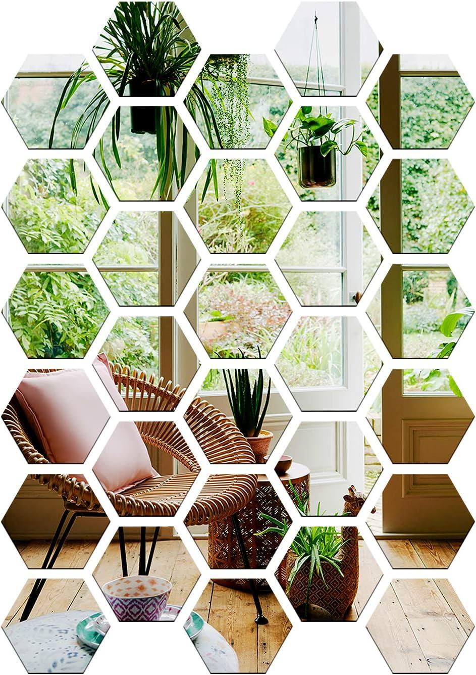 Gsmetog 7.3''x6.3''x3.6'' Hexagon Topics on TV Mirror Sticker Credence Pieces 30 Wall