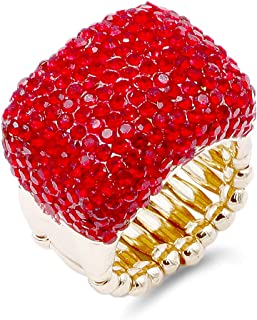 Lavencious Half Cube Shape with Crystals Stretch Rings Statement Rings Free Size for Women