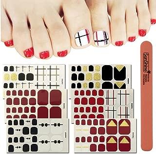 WOKOTO 6 Sheets Toe Nail Art Adhesive Stickers And 1Pc Nail Buffer Files Red Black Gold Solid Nail Polish Stickers For Toes Kit