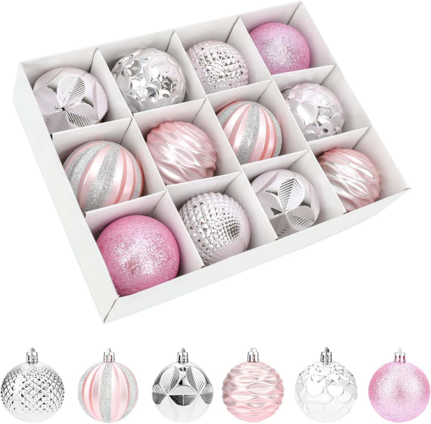 QKURT Christmas Tree Ball Ornaments Our shop OFFers the best service 6cm inch Popular product Shatter 12pcs 2.38