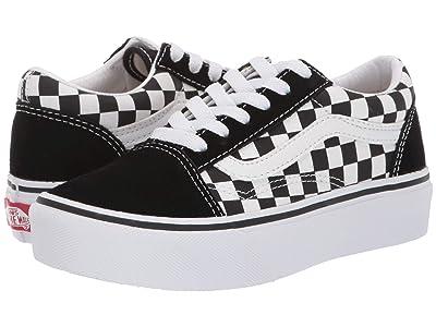 Vans Kids Old Skool Platform (Little Kid/Big Kid) (Checkboard/True White) Girls Shoes