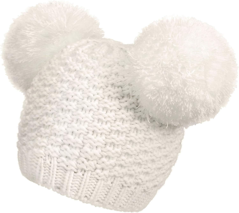 Women's Winter Chunky Knit Beanie Hat with Double Pom Pom Ears