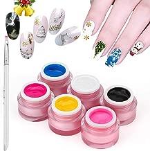 Saviland 6 Colors Nail Art Painting Nail Gel Polish Draw Acrylic Color UV LED Gel Varnish DIY Makeups Tips with Painting Pen 8g
