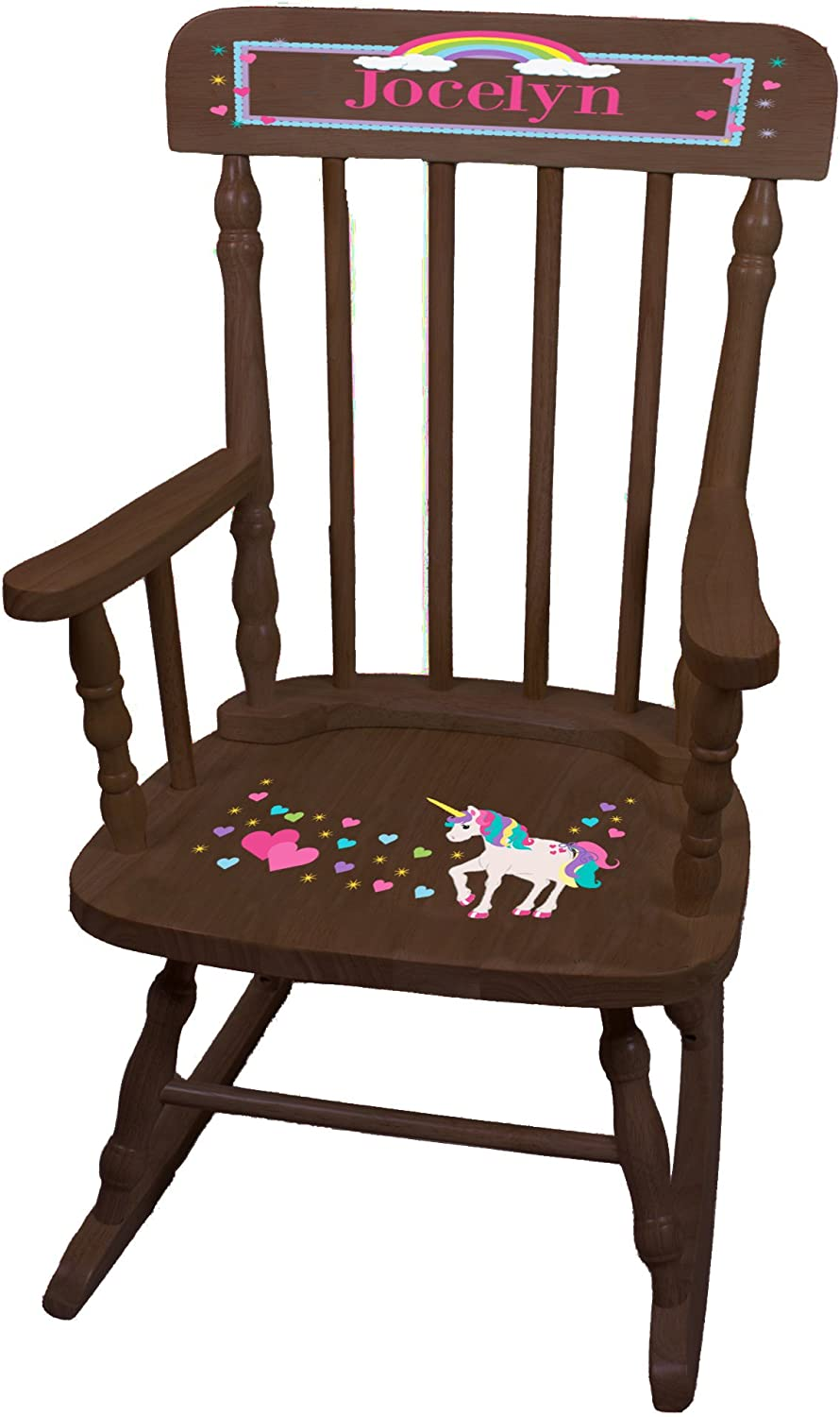 Personalized Unicorn Espresso Childrens Chair Rocking Special price for a limited time Oklahoma City Mall