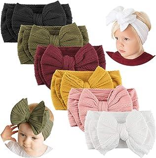 Makone Handmade Baby Headbands with Bows Stretchy Nylon Headbands for Infant Baby Girls