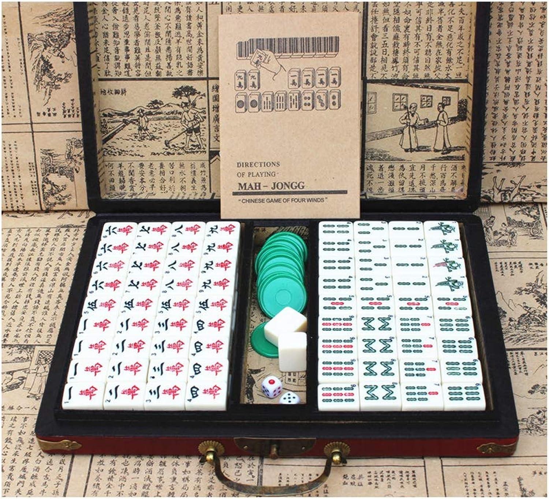 HRRH Set Mahjong, Mahjong da Viaggio Set Mahjong Inglese Mahjong Americano con Custodia in Pelle Antica e uomouale di Istruzioni