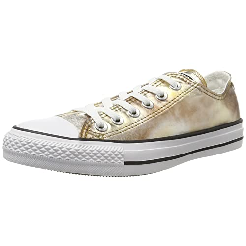 Converse Unisex Adults  CTAS Ox Silver Gold White Trainers 38c1251fc