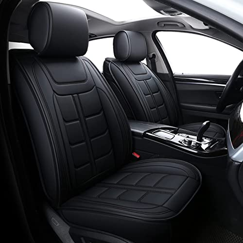 popular Coverado discount Car Seat Covers, Waterproof Faux Leather Line Pattern Automotive Vehicle Cushion Protector, sale Universal Fit for Most Cars Sedan SUV Pickup Truck(Full Set, Black) outlet online sale