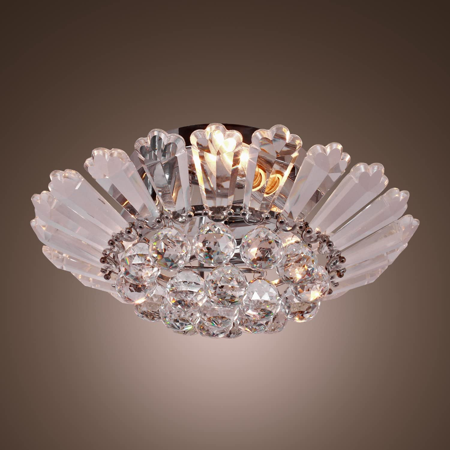 LightInTheBox Modern Semi - Flush Mount in Crystal Feature, Home Ceiling Light Fixture Chandeliers Lighting for Dining Room, Bedroom, Living Room