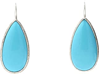 UTOPIA JAIPUR Green Color Pear Shape Turquoise 925 Sterling Silver White Rhodium Plating Dangle & Drop Earrings For Women & Girls(15X30)