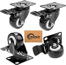 Herenear 4 stuks 50 mm zwenkwielen met rem, wielen voor meubels, transportwielen, meubelwielen voor palletmeubels, draagkr...