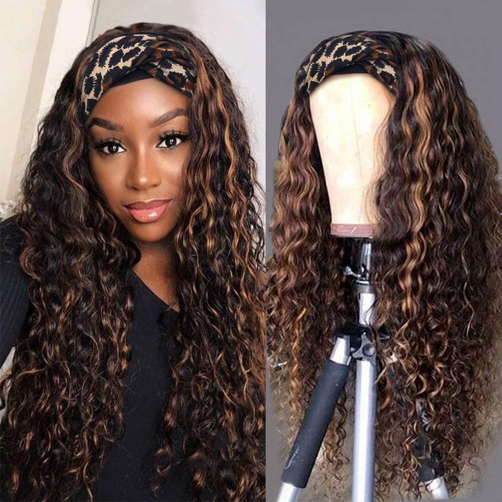 Max 71% OFF Deep Curly Headband Wigs Natural Black with Gl Auburn Highlights Selling rankings