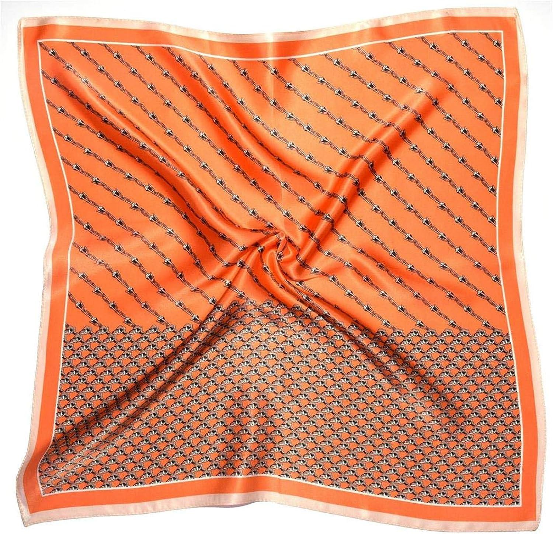 orange Chain Thick Small Silk Square Scarf