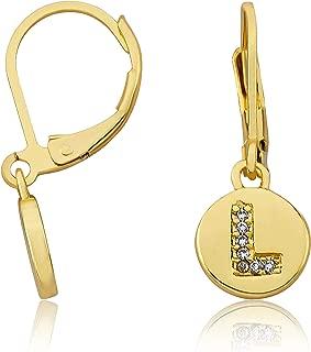 Z Little Miss Twin Stars 14K Gold Plated Earring Initial Alphabet Letter Leverback Earrings A