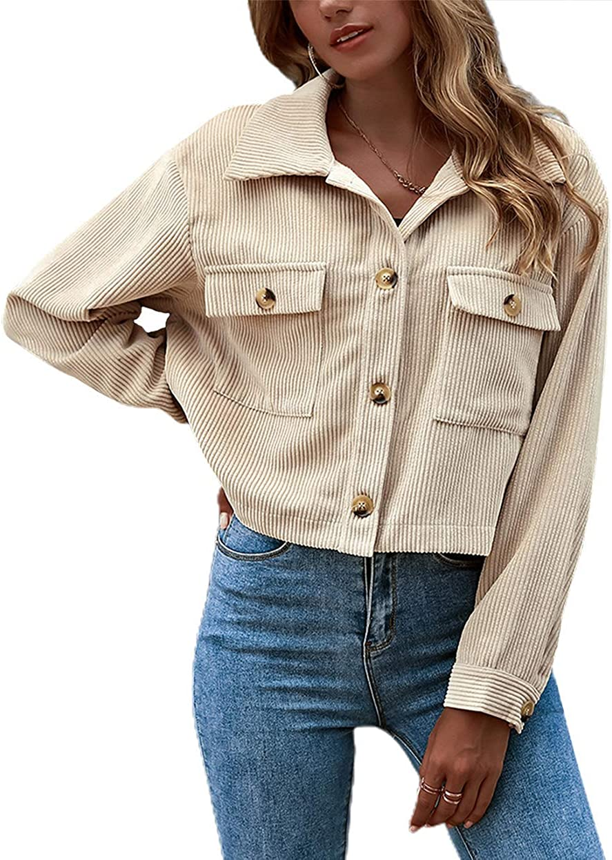 Alilyol Womens Casual Button Up Short Corduroy Shirt Jacket Cropped Corduroy Jacket