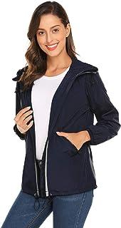Mofavor Womens Lightweight Waterproof Raincoat with Hood Long Outdoor Hiking Rain Jacket