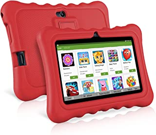Ainol Q88 Kids Tablet PC,7 Inch Android 7.1 Display 1G RAM 8 GB ROM Tablet Dual 0.3MP Camera Kid-Proof Silicone Case Kickstand Available with iWawa for Kids Education Entertainment- Red