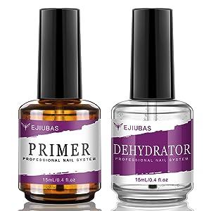 Ejiubas Nail Primer, Professional Natural Nail Prep Dehydrator and Primer, Long-Lasting Primer for Acrylic Nails, Fast Air Dry Nail Primer for Acrylic, Nail Dehydrator and Primer 15ML / 0.5 oz