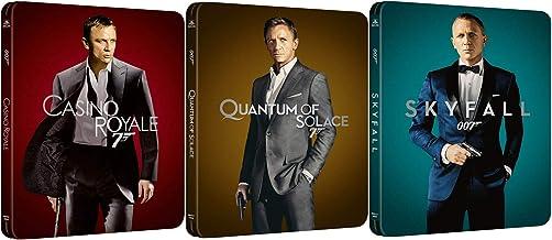 Steel Sky fall, Casino Royale James Bond Blu Ray + DHD 4K & Quantum of Solace /Skyfall Steelbook Set 3 Pack 007 Daniel Cra...