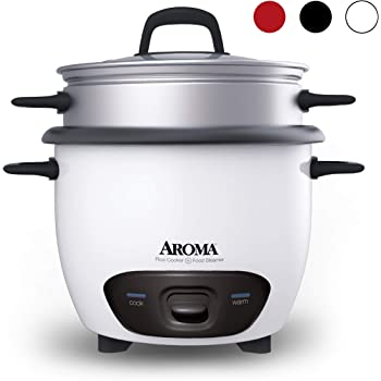 Aroma Housewares 6-Cup (Cooked)  (3-Cup UNCOOKED) Pot Style Rice Cooker and Food Steamer (ARC-743-1NG),White