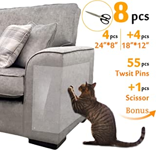 Hake's Toys Furniture Protectors from Cats |Couch Cover |Scissors of Bonus |4pcs 24''L8''W+4pcs 18''L12''W+55pcs Twist Pins |Best Cat Scratch Deterrent for Leather Sofa Door and Chair