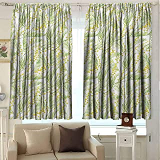 Garden Art Heat Insulation Curtain Watercolor Mimosa Pattern Wild Spring Flowers Brush Strokes Effect for Living Room or Bedroom W52 x L36 Inch Apple Green and Yellow