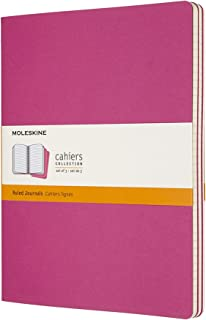 Moleskine Cahier Journal, Set 3 Notebooks with Ruled Pages, Cardboard Cover with Visible Cotton Stiching, Colour Kinetic P...
