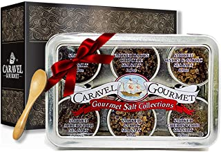 The Smoked Sea Salt Sampler - Perfect as a Gift Set - Reusable Tins & Bamboo Spoon - Alderwood, Cherrywood, Bacon, Bacon Chipotle, Garlic Onion, & Garlic Salts - 1/2 oz. each, 3 total oz.