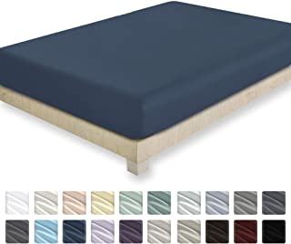 California Design Den 400 Thread Count 100% Cotton 1 Fitted Sheet Only, Indigo Batik Queen Fitted Sheet, Long - Staple Combed Pure Natural Cotton Sheet, Soft & Silky Sateen Weave