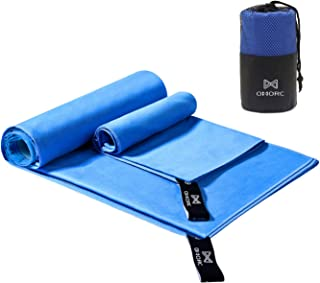 OMORC Microfiber Travel Towel, Sports Towel Set, Fast Drying Towel, 2 Pack Large(63x32in,28x15in), Super Absorbent, Ultra ...