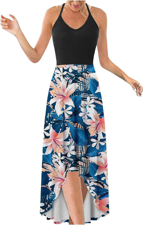 Smooto Women's Summer Dress V-Neck Casual Irregular Hem Fashion Camisole Dress
