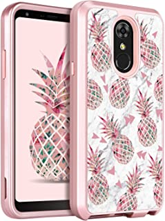 LG Stylo 4 Case LG Stylo 4 Phone Case LG Stylo 4 Plus Case LG Q Stylus Case GUAGUA Pineapple Marble Glossy Cover Girls Women Hard Bumper Shockproof Protective Phone Case for LG Stylo 4 Rose Gold/White